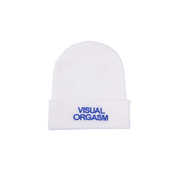 Visual Orgasm Embroidery Beanie (White)