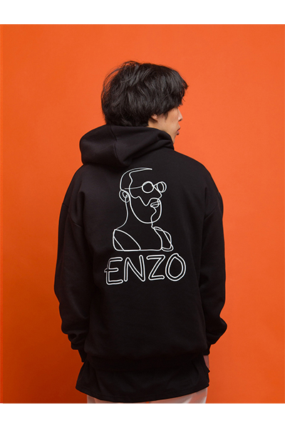 ENZO BACK PRINTED HOODY (BLACK)