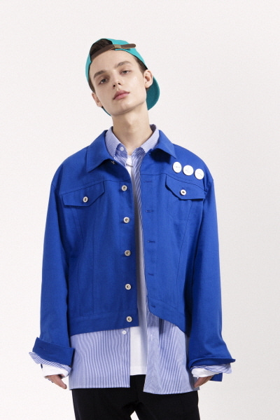 TRUCKER JACKET W/ BADGES (BLUE)