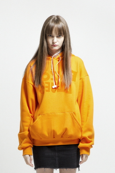 LOGO FLOCKING HOODY (ORANGE)