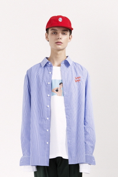 OVERSIZE STRIPE SHIRT (BLUE / WHITE)