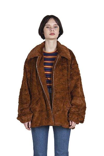 FAKE FUR JACKET (BROWN)