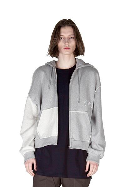 REVERSE ZIP UP HOODY (GREY)