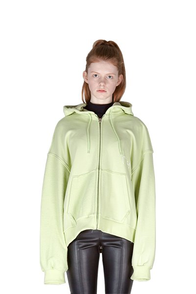 REVERSE ZIP UP HOODY (LIME)